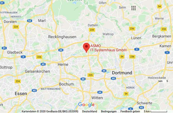 Karte Kreis Recklinghausen ASMO IT-Systemhaus